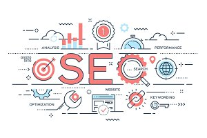 SEO Search engine otimization thin line concept.