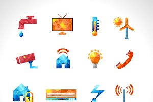 Smart house polygonal icons set