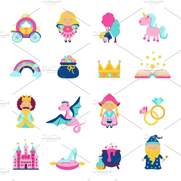Fairy Tale Characters And Symbols Icons Creative Market