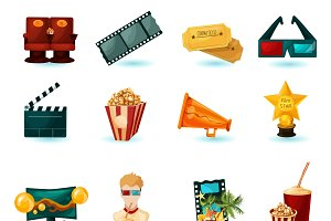 Cinema cartoon icons set