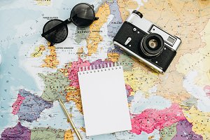 Travel notes flat lay mock up