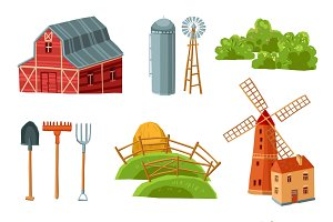 Farm decorative multicolored set