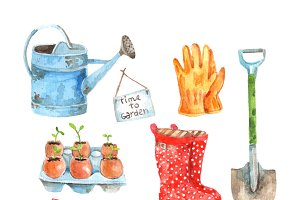 Gardening watercolor pictograms
