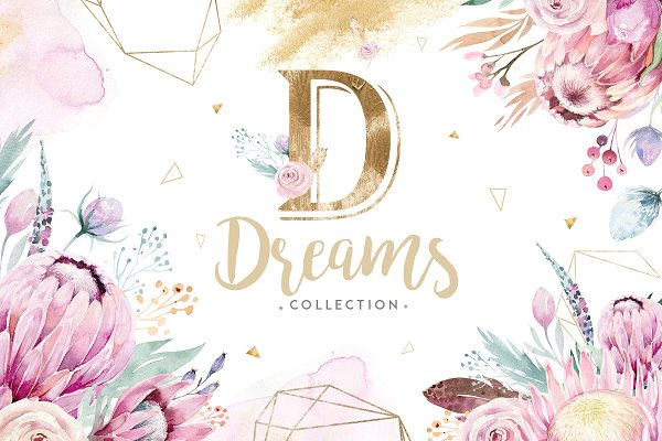 Dreams collection. Gold protea