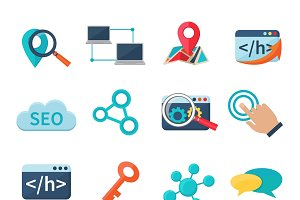 Seo marketing flat icons set