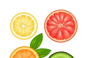 Sliced fruits top view set