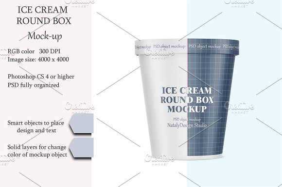 Free Ice cream round box mockup