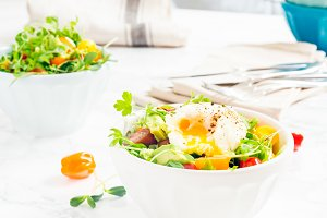 Mixed baby greens and poached egg