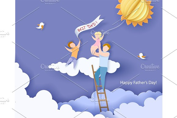 Happy fathers day card. Paper cut style. in Illustrations