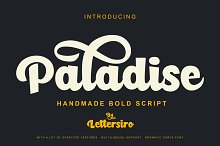 Paladise Font & Extras by Lettersiro in Script Fonts
