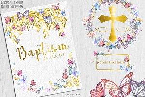 Baptism watercolor butterflies clip