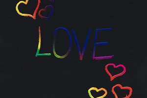 Love word colorful message