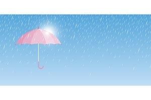 Pink umbrella with rain drop