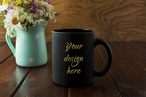 Black coffee mug rustic mockup with