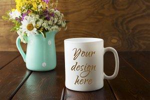 White coffee mug rustic mockup with