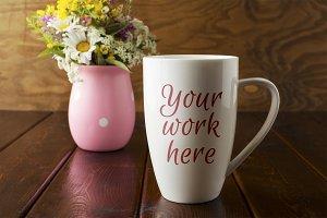 White coffee cappuccino mug rustic