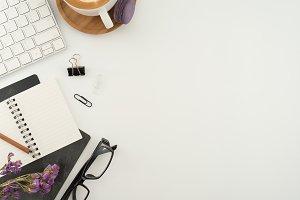 Modern flat lay office desk concept