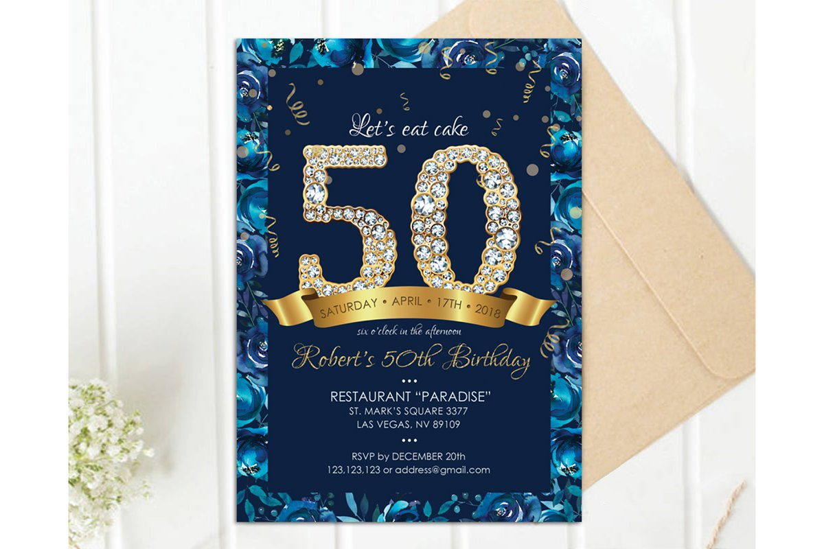 Navy And Gold 50th Birthday Invit Invitation Templates Creative
