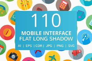 110 Mobile Interface Flat Icons