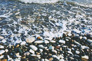 Pebble beach and waves