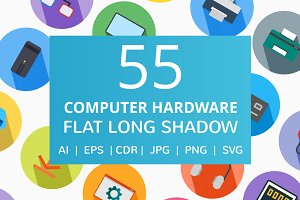 55 Computer & Hardware Flat Icons