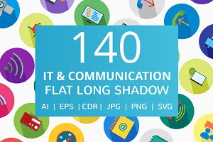 140 IT & Communication Flat Icons