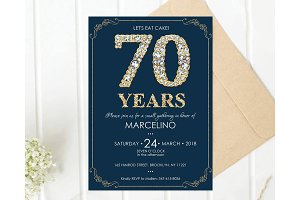 70th Diamond Birthday invite for Men
