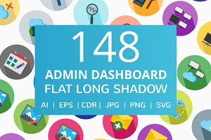 148 Admin Dashboard Flat Icons
