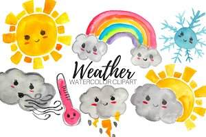 Watercolor Kawaii Weather Clipart