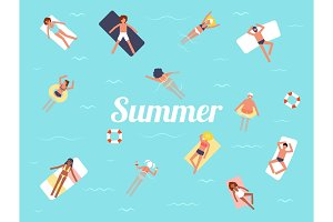 Summer swimming pool season background people character vector. Tropical beach poster.