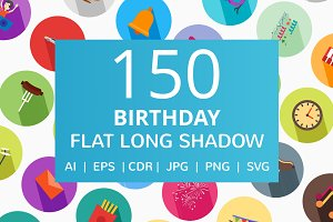 150 Birthday Flat Long Shadow Icons