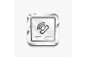 Phone button, call support idea, vector illustration