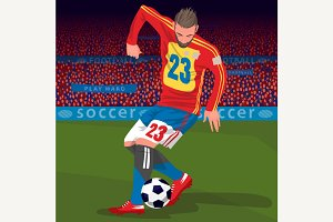 Football player with ball in stadium