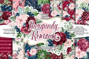 Burgundy Romance digital paper pack
