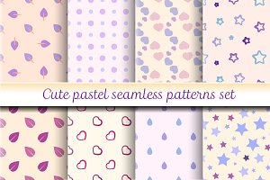 Cute pastel seamless patterns set