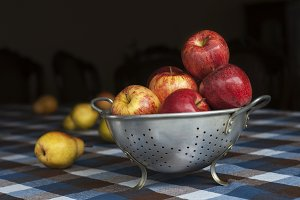 Apples on a rustic table