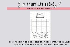 Rainy Day Blank Calendar PSD