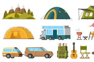 Traveling Camping Elements Set