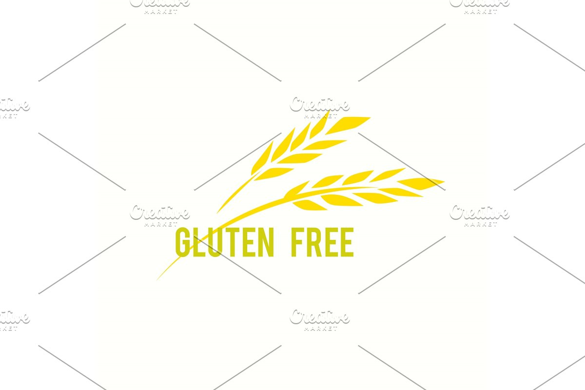 Gluten free vector icon  Vector eco, organic, bio logos or signs  Line  style logotype template with wheat