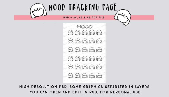 30-days Mood tracking page PSD file