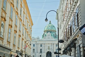 Sunny Central Street in Vienna