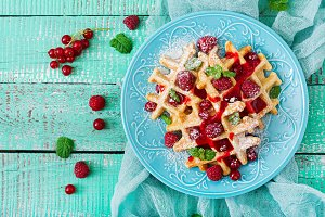 Belgium waffles with raspberries
