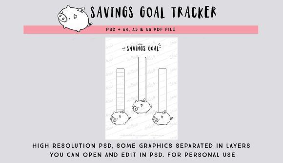 savings goal tracking page psd file stationery templates