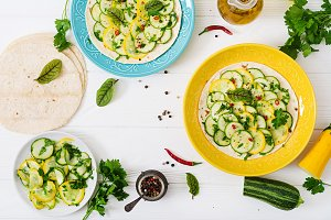 Vegan tacos with pickled zucchini