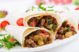 Burritos wraps with beef