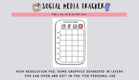 Social Media Tracker PSD file  in Stationery Templates