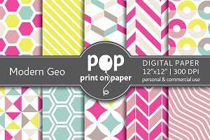 Modern Geometric - 10 digital papers