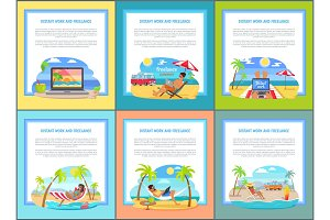 Distant Work and Freelance Set Web Posters People