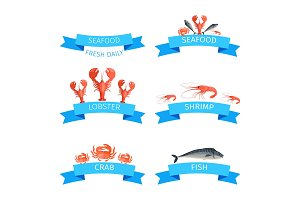Delicious Fresh Seafood Promotional Emblems Set