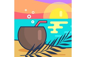 Cocktail and Sunset Beach Vector Illustration